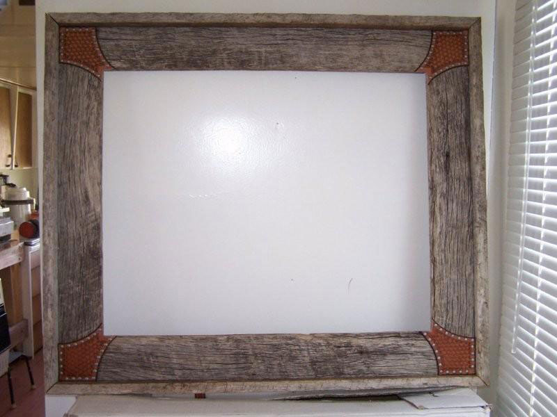 barnwood frame with leather corners
