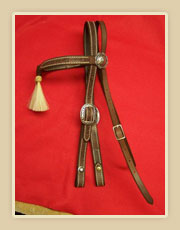 Harness leather headstall with tassles on the brow band with rawhide knots and fancy buckles and rosettes