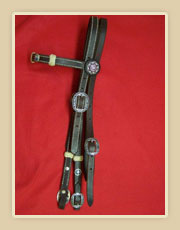 Headstall with fancy rosettes, rawhide knots, fancy buckles and turquoise Conchos