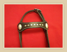 Headstall with diamond spots, Buckle adjustment on pole fancy Conchos