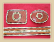 Leather Belt with rawhide lacing and accents, choice of buckles
