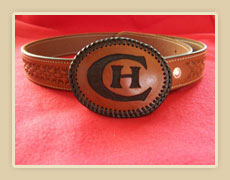 Custom made basket stamped belt and  personalized buckle.
