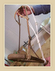 Rawhide bosal with double eared hanger, rawhide braiding and silver buckles and feidor