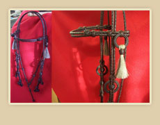Coffee colored rawhide braided headstall with horse hair tassles and rawhide braided rings