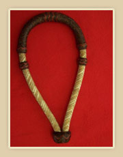 5/8 inch rawhide bosal with dyed noseband with red zigzag pattern