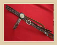 Doubled and stiched harness leather browband headstall, W/ snake skin rosett and plain buckles