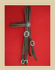 Doubled and stiched harness leather browband headstall with Horseshoe hardware , two sided adjustment and Horseshoe hardware on bit end